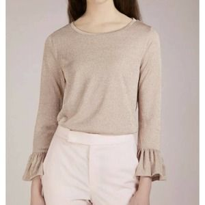 J Crew Sparkle Top XL Metallic Champagne Bell Sleeve Casual Party NEW